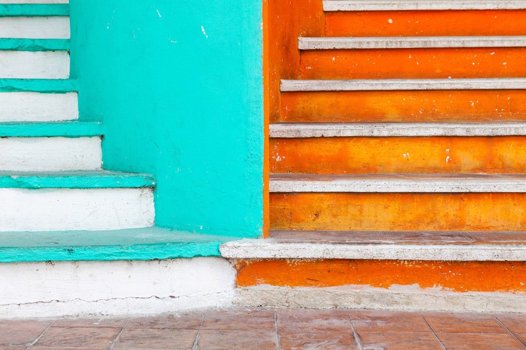 Stock Photo: 1795R-70634 Mexico, Quintana Roo, Yucatan Peninsula, Isla Mujeres, Colorful steps