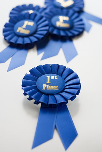 Close up of First Place ribbons : Stock Photo