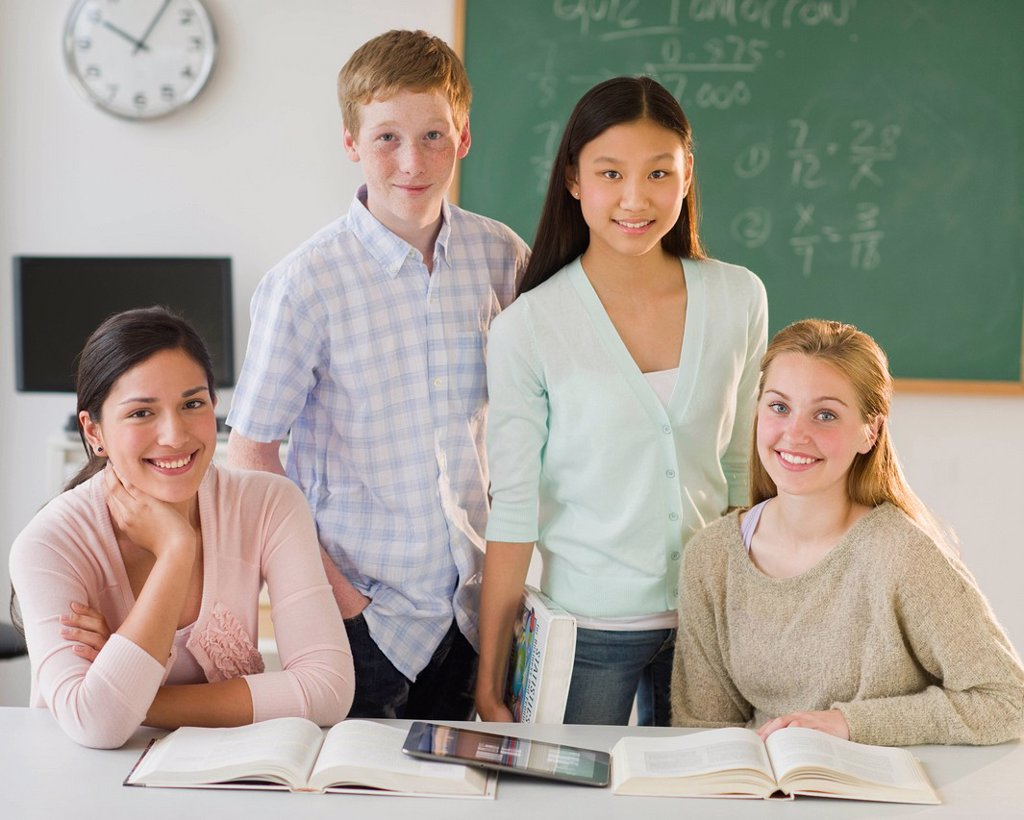 Stock Photo: 1795R-72264 Portrait of students 14_19 in classroom