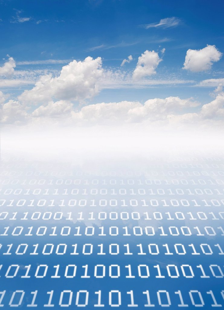 Cloudscape with binary code : Stock Photo