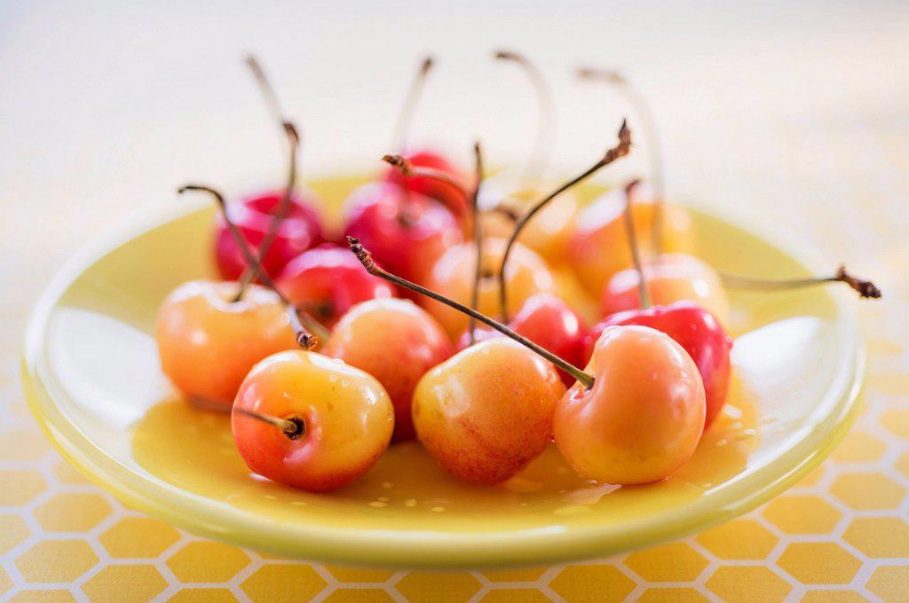 Cherries on plate : Stock Photo