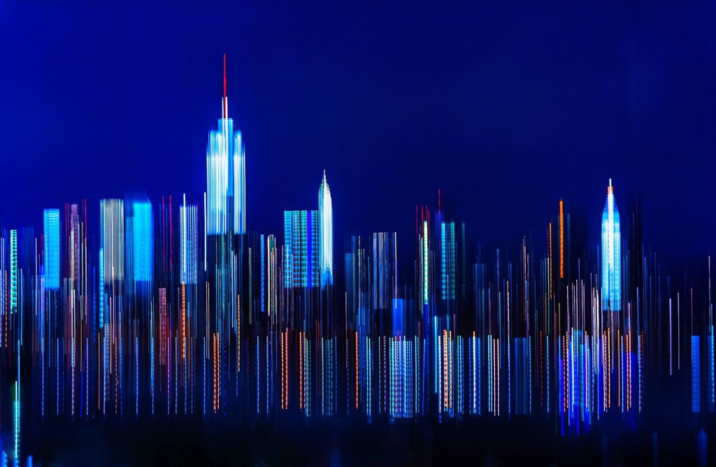 Stock Photo: 1795R-76509 Digitally blurred skyline of Manhattan