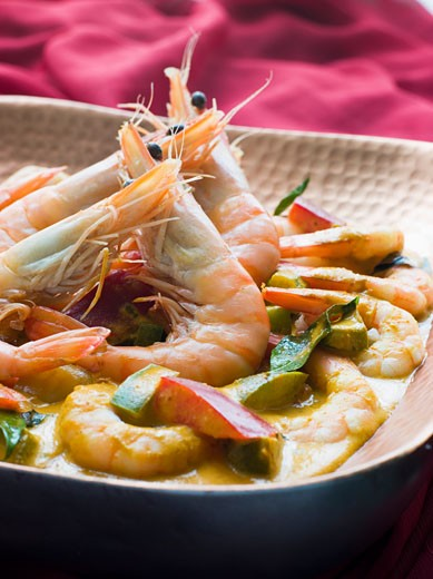 Malai King Prawn Curry : Stock Photo