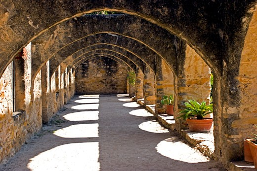 Stock Photo: 1799R-1866 Archway of a church, Mission San Jose, San Antonio, Texas, USA