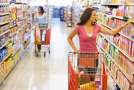 Stock Photo: 1799R-21498 Two women shopping at a grocery store