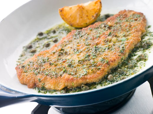 Cotoletta of Veal in a Frying Pan : Stock Photo