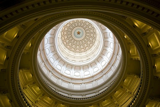 Stock Photo: 1799R-24804 Low angle view of the interior of the dome of a government building, Texas State Capitol, Austin, Texas, USA