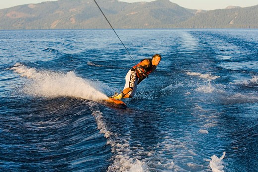 Man wakeboarding on a lake, Lake Tahoe, California, USA : Stock Photo