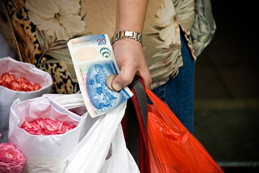 Mid section view of a woman holding money and flowers in a shop, Kowloon, Hong Kong, China : Stock Photo