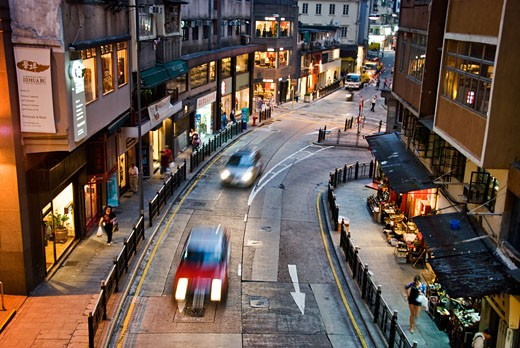 High angle view of vehicles on the road, Hollywood Road, SOHO, Hong Kong, China : Stock Photo