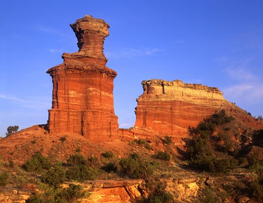 Low angle view of rock formations, Palo Duro Canyon State Park, Texas, USA : Stock Photo