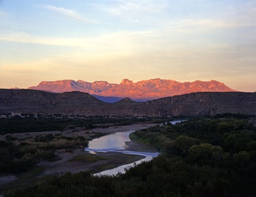 River with a mountain in the background, Rio Grande River, Chisos Mountains, Big Bend National Park, Texas-Mexico Border, USA : Stock Photo