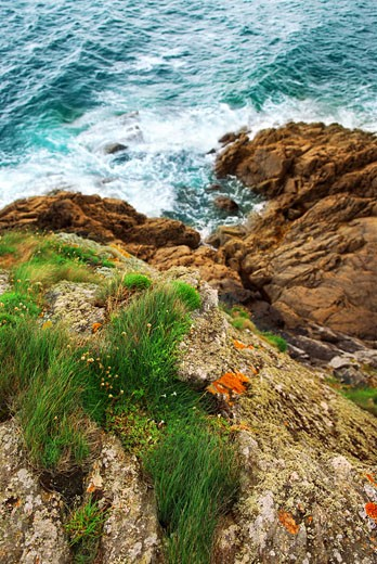 Stock Photo: 1799R-2853 High angle view of rock formations at the coast, Emerald Coast, Brittany, France