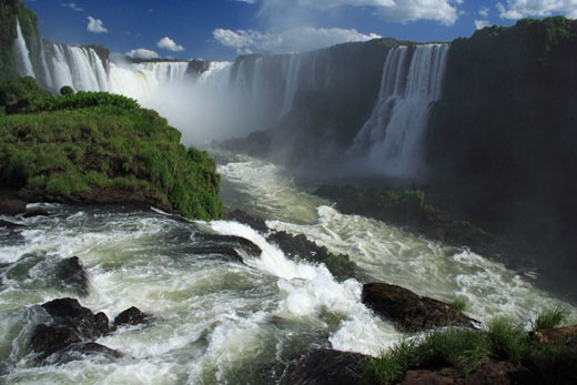 Waterfall in a forest, Iguassu River, Iguassu Falls, Iguassu National Park, Brazil-Argentina : Stock Photo
