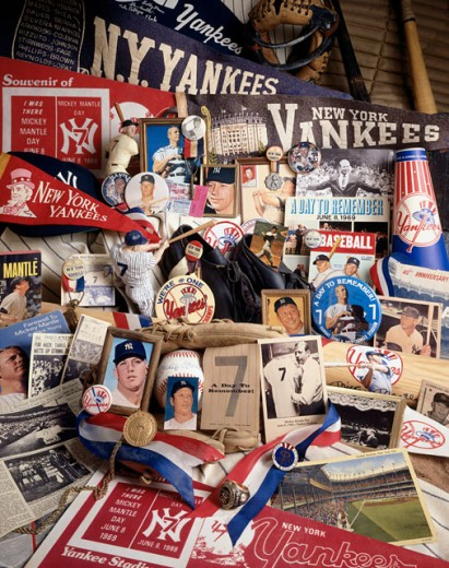 Close-up of baseball memorabilia : Stock Photo