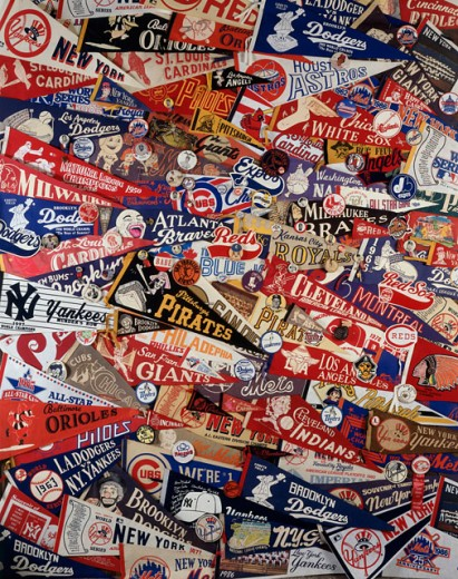 Stock Photo: 18-495 High angle view of a group of pennants
