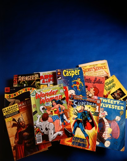 Close-up of a group of comic books : Stock Photo