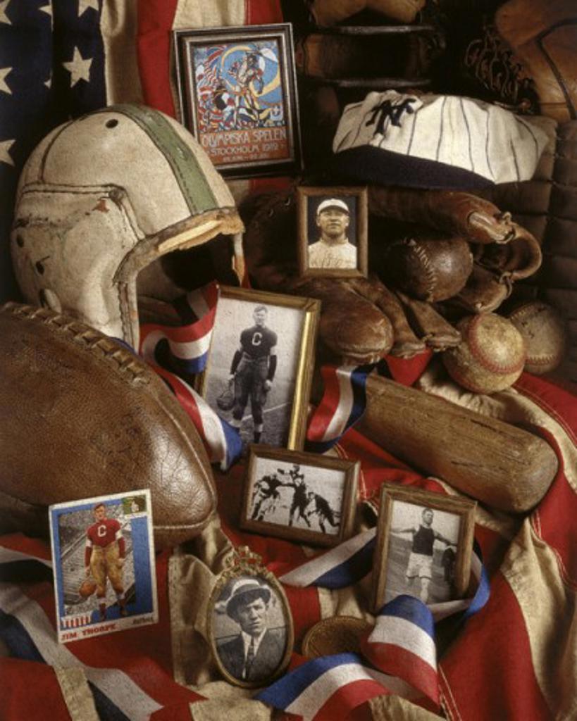 Stock Photo: 18-583 High angle view of baseball memorabilia