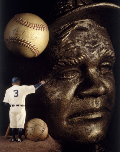 Close-up of the statue of a baseball player, Babe Ruth : Stock Photo