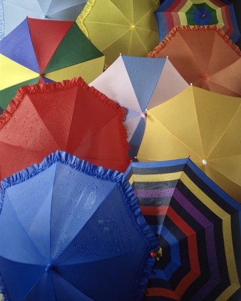 Stock Photo: 18R-576 Array of umbrellas