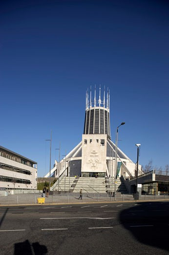 Stock Photo: 1801-11321 METROPOLITAN CATHOLIC CATHEDRAL, MOUNT PLEASANT, LIVERPOOL, MERSEYSIDE, UNITED KINGDOM, OVERALL VIEW FROM MOUNT PLEASANT, FREDERICK GIBBERD PARTNERSHIP