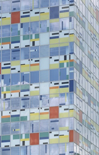 COLORIUM, MEDIEN-HAFEN, DUSSELDORF, GERMANY, COLOURED GLASS, ALSOP ARCHITECTS LIMITED : Stock Photo