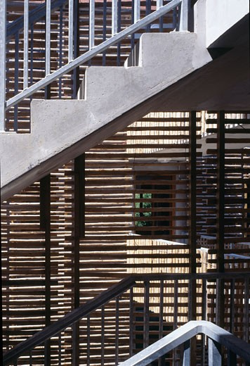 Stock Photo: 1801-12029 HOUSING, LOUVIERS, FRANCE, DETAIL FROM STAIRWELL, EDOUARD FRANCOIS