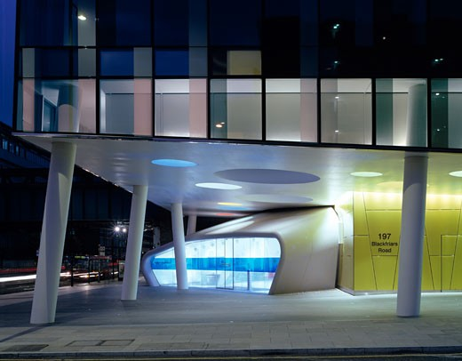 Stock Photo: 1801-1286 PALESTRA, BLACKFRIARS ROAD, LONDON, SE1 SOUTHWARK + BERMONDSEY, UNITED KINGDOM, EXTERIOR AT NIGHT, ALSOP ARCHITECTS LIMITED