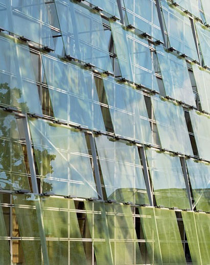 Stock Photo: 1801-14038 KILDARE COUNTY COUNCIL OFFICES, NAAS, KILDARE, IRELAND, GLASS WITH FRITTING, HENEGHAN PENG