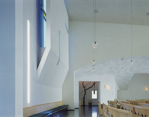 Stock Photo: 1801-14506 CHAPEL OF ST IGNATIUS, SEATTLE UNIVERSITY, SEATTLE, WASHINGTON, UNITED STATES, REAR BLUE BAFFLE AND CHAPEL OF THE BLESSED SACRAMENT, STEVEN HOLL