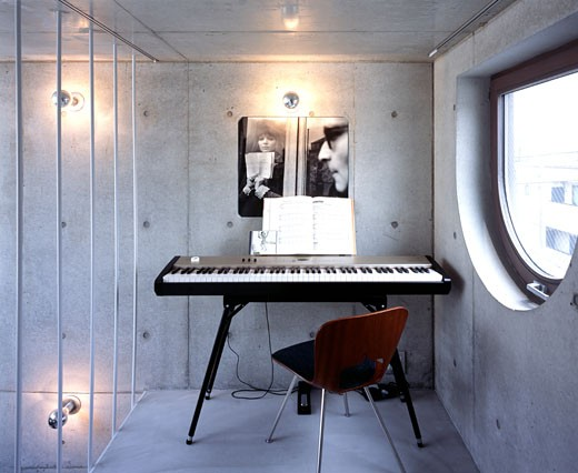 Stock Photo: 1801-1485 THE TOWER HOUSE, TOKYO, JAPAN, INTERIOR VIEWS -MUSIC ROOM ON TOP FLOOR, ATELIER BOW-WOW