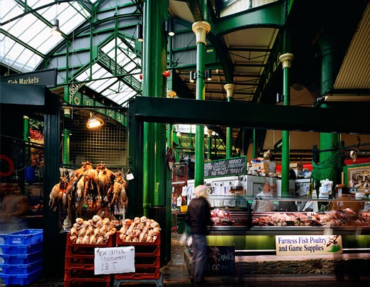 Stock Photo: 1801-17486 FURNESS FISH, POULTRY AND GAME SUPPLIES, BOROUGH MARKET, 8 SOUTHWARK STREET, LONDON, SE1 SOUTHWARK + BERMONDSEY, UNITED KINGDOM, VIEW OF STALL, LONDON GENERAL VIEWS