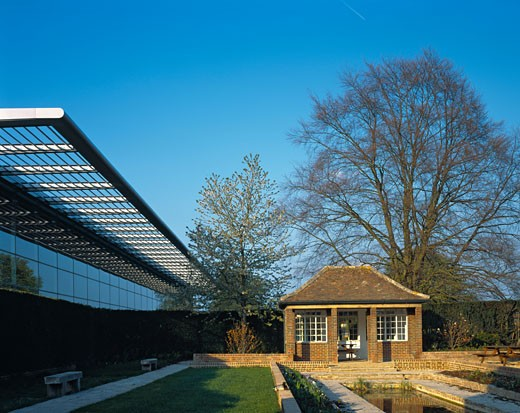Stock Photo: 1801-17730 TTP COM LTD HEADQUARTERS, MELBOURN SCIENCE PARK, CAMBRIDGE ROAD, ROYSTON, HERTFORDSHIRE, UNITED KINGDOM, RESTORED GARDEN AND BUILDING, MICHAEL AUKETT ARCHITECTS