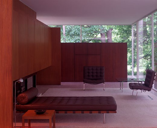 FARNSWORTH HOUSE, FOX RIVER, ILLINOIS, UNITED STATES, ROOM WITH BROWN BED, LUDWIG MIES VAN DER ROHE : Stock Photo