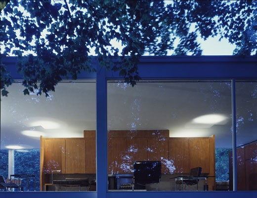 Stock Photo: 1801-18871 FARNSWORTH HOUSE, FOX RIVER, ILLINOIS, UNITED STATES, EXTERIOR DUSK SHOT, LUDWIG MIES VAN DER ROHE