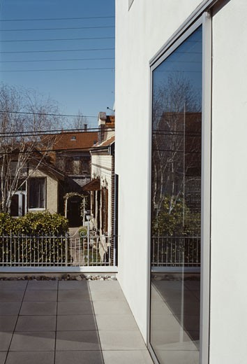 Stock Photo: 1801-19818 PRIVATE HOUSE, SAINTE SAVINE, FRANCE, FRONT TERRACE DETAIL TOWARDS ROAD CLOSE UP, FABRICE NOMDEDEU