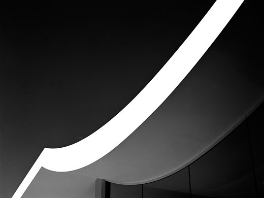 Stock Photo: 1801-20066 SERPENTINE GALLERY PAVILION, KENSINGTON GARDENS, LONDON, W2 PADDINGTON, UNITED KINGDOM, BLACK AND WHITE ROOFLINE DETAIL, OSCAR NIEMEYER