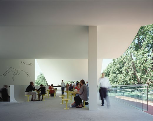 Stock Photo: 1801-20104 SERPENTINE GALLERY PAVILION, KENSINGTON GARDENS, LONDON, W2 PADDINGTON, UNITED KINGDOM, PEOPLE USING THE CAFE AREA, OSCAR NIEMEYER