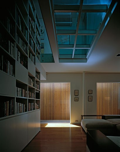 QUEENS PARK HOUSE, SYDNEY, NEW SOUTH WALES, AUSTRALIA, LIVINGROOM, BOOKCASE, ATRIUM, GLASS CEILING, PETER CLARK ARCHITECTS : Stock Photo