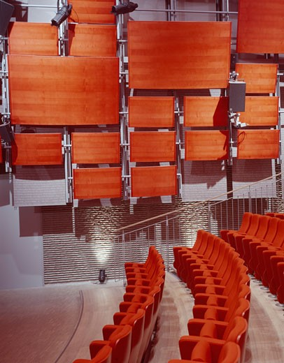 ZENTRUM PAUL KLEE, BERN, SWITZERLAND, DETAIL OF 'FORUM LECTURE THEATRE', RENZO PIANO BUILDING WORKSHOP : Stock Photo