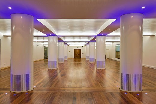 Stock Photo: 1801-23421 FUNCTION ROOM AT THE ROYAL COLLEGE OF OBSTETRICIANS AND GYNAECOLOGISTS, REGENTS PARK, LONDON, UNITED KINGDOM, INTERIOR SHOWING COLOURED UPLIGHTERS AND COLUMNS, ROBERT POTTER AND PARTNERS