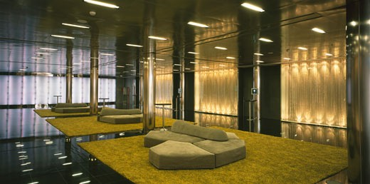 Stock Photo: 1801-23561 NEW HESPERIA TOWER HOTEL, L´HOSPITALET, BARCELONA, CATALUNYA, SPAIN, BASEMENT AREA WITH COLOR CHANGING GLASS CURTAINS, RICHARD ROGERS PARTNERSHIP