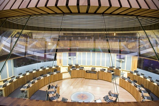 Stock Photo: 1801-23821 NATIONAL ASSEMBLY FOR WALES, CARDIFF BAY, CARDIFF, UNITED KINGDOM, DETAIL VIEW OF THE DEBATING CHAMBER, RICHARD ROGERS PARTNERSHIP