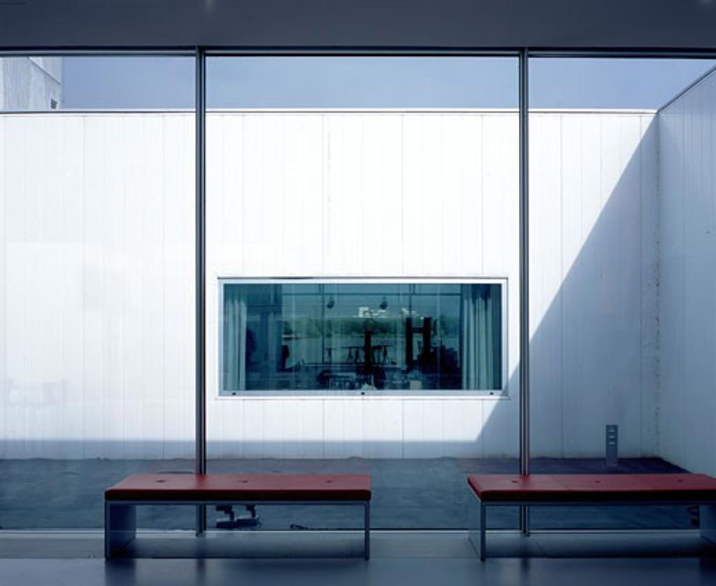 Stock Photo: 1801-24136 DE KUNSTLINIE, ALMERE, NETHERLANDS, INTERIOR VIEW - INTO COURTYARD, SANAA KAZUYO SEJIMA + RYUE NISHIZAWA