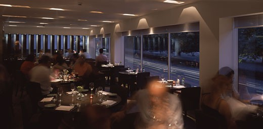 Stock Photo: 1801-25589 FAKHRELDINE, LABANESE RESTAURANT, 85 PICCADILLY, LONDON, W1 OXFORD STREET, UNITED KINGDOM, INTERIOR TWILIGHT VIEW OF RESTAURANT, STIFF AND TREVILLION ARCHITECTS