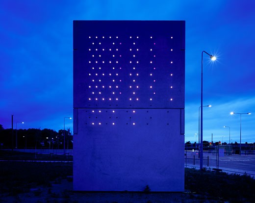 PUMP HOUSE, MOVERS UNDERPASS, DAGENHAM A13, LONDON, UNITED KINGDOM, STRAIGHT VIEW AT DUSK, DE PAOR ARCHITECTS/ LIGHTING CLAIRE BREW : Stock Photo