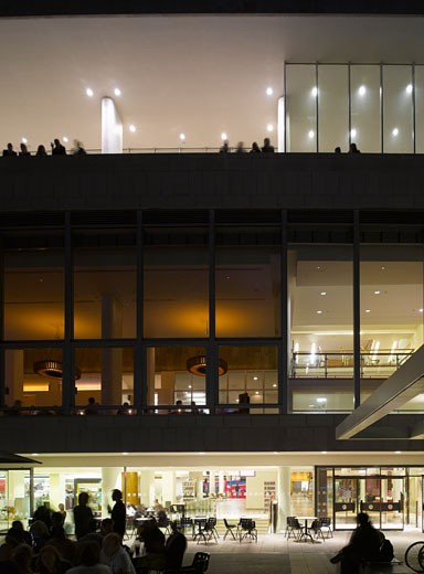 Stock Photo: 1801-2870 ROYAL FESTIVAL HALL REVIVAL EXHIBITION, SOUTHBANK CENTRE, LONDON, SW7 SOUTH KENSINGTON, UNITED KINGDOM, NIGHT VIEW, LESLIE MARTIN, ROBERT MATTHEWS, PETER MORO AND ALLIES AND MORRISON ARCHITECTS