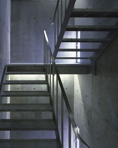 Stock Photo: 1801-2953 ALLIES AND MORRISON OFFICES, SOUTHWARK STREET, LONDON, SE1 SOUTHWARK + BERMONDSEY, UNITED KINGDOM, PERFORATED STEEL STAIR, ALLIES AND MORRISON
