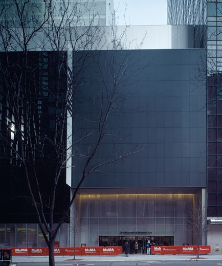 Stock Photo: 1801-29850 MUSEUM OF MODERN ART, 53RD STREET, NEW YORK, NEW YORK, UNITED STATES, 53RD STREET ENTRANCE FACADE, YOSHIO TANIGUCHI AND ASSOCIATES