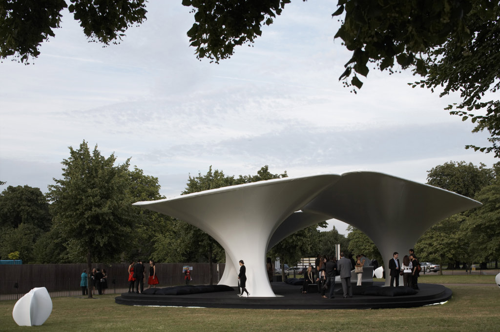 Stock Photo: 1801-30005 LILAS PAVILION - SERPENTINE GALLERY, KENSINGTON GARDENS, LONDON, W2 PADDINGTON, UNITED KINGDOM, VIEW THROUGH TREES, ZAHA HADID